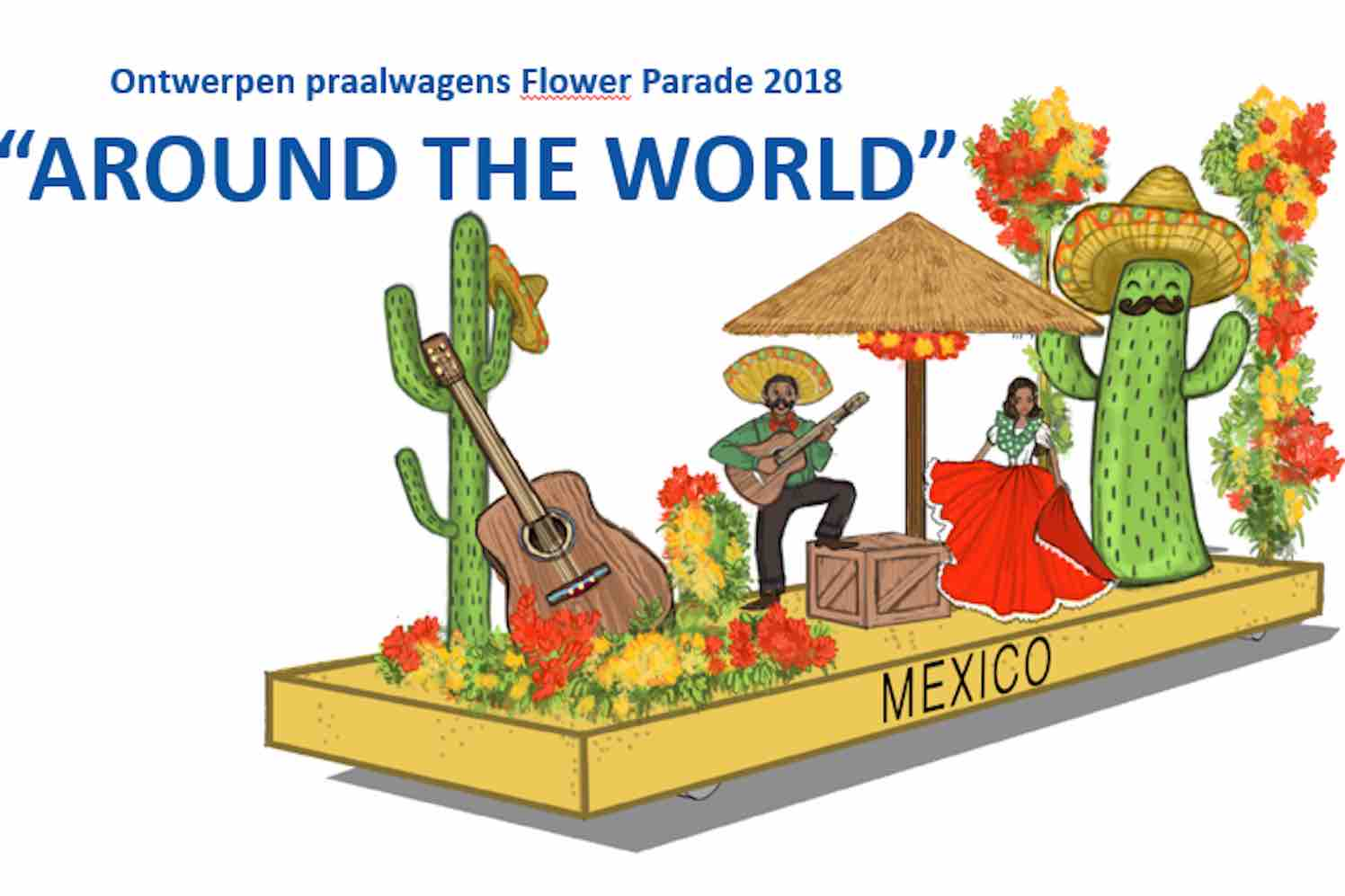 Around the World thema Flower Parade Rijnsburg