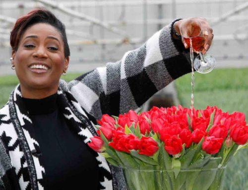 Edsilia Rombley geeft haar naam een rode pioentulp